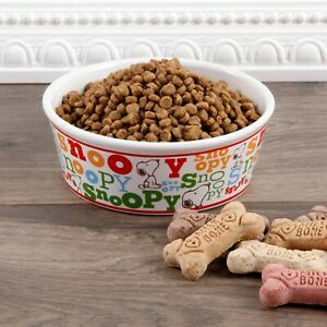 """Peanuts Snoopy Stoneware Pet Bowl Colorful Classic Dog Food Water Bowl 7"""" Wide"""