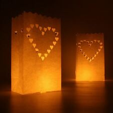 10 Luminary Paper Candle Tea Light Lantern Bags Wedding Party BBQ Xmas - Love