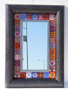 "29"" PUNCHED TIN MIRROR mixed talavera tile mexican folk art  wall decoration"