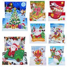 8pcs 5D DIY Christmas Diamond Painting Cross Stitch Greeting Cards Xmas Gift
