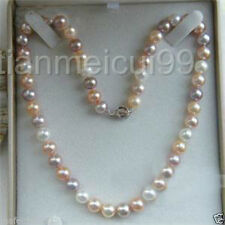 """7-8mm Genuine Natural White & Pink & Purple Akoya Cultured Pearl Necklace 18"""""""