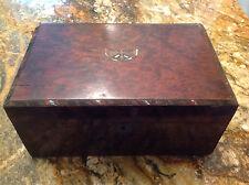 Antique Inlaid Butterfly Burl Sewing Box Trinket Box Burlwood Tea Caddy