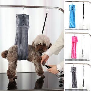Table Arm No-Sit Haunch Holder Dog Grooming Restraint Fleece Lift Harness & Loop