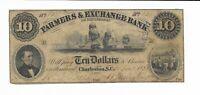 1853 $10 Charleston South Carolina Farmers & Exchange Bank #613  G4 Sail Ships