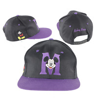 NOS Vintage 90s Disney Mickey Mouse Block M Spell Out Snapback Hat Black Purple