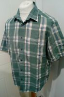 M&S Easy Care Short Sleeve Check Shirt Loose Fit Size Large