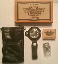 Geunuine Harley Davidson Pocket Watch With Leather Fob, Pouch, Chain New