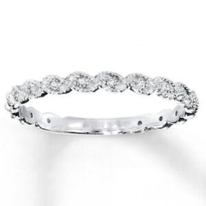 Womens WG 14K 1/10CTTW Diamond Wedding/Anniversary Ring Band