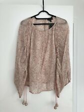 Topshop Nude Ditsy Georgette Blouse Drawstring Sleeves Round Neck Size Uk 8