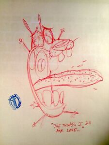 COURAGE THE COWARDLY DOG RED PENCIL ROUGH BY JOHN R. DILWORTH