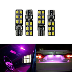 A1 AUTO 4x T10 W5W 12256 LED Bulb 2835 SMD High Bright Interior Light, Hot Pink