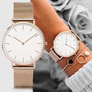 Luxury Analog Women Watch Hook Buckle Stainless Steel Leather Quartz Wrist Watch