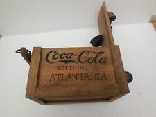 SMALL COCA-COLA WOODEN ADVERTISING BOX WITH WHEELS  LIKE SACK BARROW