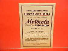 1936 MOTOROLA MODEL 50 AUTO CAR RADIO OWNERS SERVICE MANUAL CHEVROLET DODGE FORD