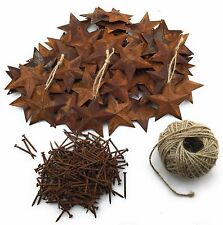 "100 Rusted Metal Stars (2.25"") with 200 Rusted Nails with 100' of Jute Twine"