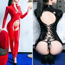 Sexy Women Super Shiny PVC Leather Jumpsuit Wetlook Crotchless Bodysuit Clubwear