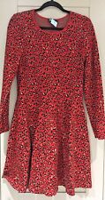 DKNY Vibrant Warm Red long sleeves Leopard Print knitted viscose Dress Size M