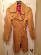 BEBE Gold Satin Belted Trench Coat Jacket