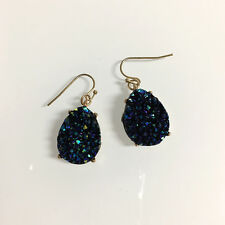 Gold Filled Finish Cobalt Blue Teardrop Druzy Hook Dangle Bohemian Earrings