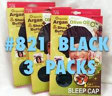LOT OF 3 PACKS OF QFITT 3 IN 1 TRIPLE NUTRITION SLEEP CAP BLACK #821
