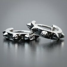 Solid White Gold Plated 925 Sterling Silver Spike Huggie Earring Hoops For Men