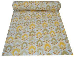 Handmade Cotton Vintage Block Print Queen Kantha Quilt Indian Bedspread