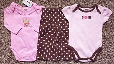 NWT Girl's Size 3-6 Months 3 Pc Fisher Price Set Two Pink Tops + Pants