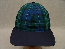 wolfmark - azul / Verde Cuadros - Pequeño Tamaño Ajustable Tira Trasera gorra