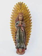"""Large 16"""" Guatemalan Our Lady Of Guadalupe Virgin Mary Wooden Santo Statue"""