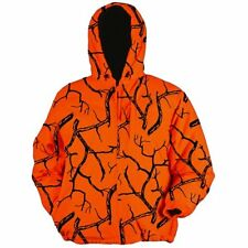 Men's Deer Camp Hoodie Full Zip Fleece Orange Camo