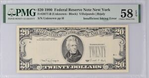 1990 $20 FEDERAL RESERVE NOTE THIRD PRINTING INSUFFICIENT INKING PMG 58 EPQ