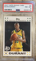 2007-08 Kevin Durant Topps Rookie Card White Border #2 - PSA 8