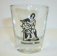 Vintage Gloucester MA  Souvenir Shot Glass - Captain at the Wheel