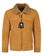 Men B3 Fur Shearling Sheepskin Leather Jacket Yellow Mustard Flying RAF LKM-148