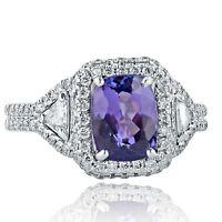 2.79 Ct Natural Tanzanite Cushion Cut Diamond Engagement Ring 18k White Gold