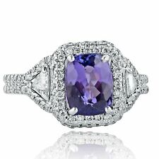 2.79 Ct Natural Tanzanite Cushion Cut Diamond Engagement Ring 18k White Gold