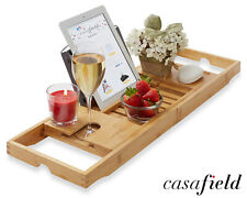 Bamboo Bathtub Caddy Over the Tub Bath Tray Holder for Wine Glass, Tablet, Phone