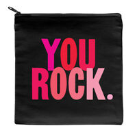 Make up Pouch You Rock canvas accessory storage zipped cosmetic bag, gift idea