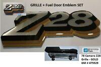 Z28 Camaro Emblem Set 1978 Grill & Fuel Door - GOLD - NEW