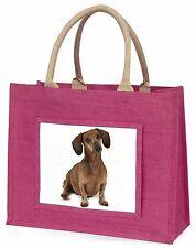 Cute Dachshund Dog Large Pink Shopping Bag Christmas Present Idea, AD-DU36BLP