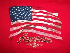 US Patriotic American Flag USA Fourth of July Red Graphic Print T Shirt XL