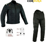 NIGHT VIZ MENS CORDURA VENT MOTORBIKE / MOTORCYCLE TEXTILE JACKET TROUSERS SUIT