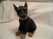 """Doberman pup plastic figurine indoor/outdoor 8"""" tall x 6"""" black/brown"""