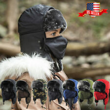 Solid Face Mask Aviator Trapper Hat Winter Cap Ski Warm Fur Cap