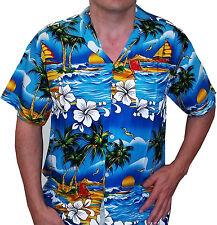 Hawaiian Shirt Mens Stag do Party Beach fancy dress Holiday Palm Light Blue