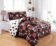 4Pc Kids Football Sports Theme Black Red White Brown Plaid Comforter Set Full