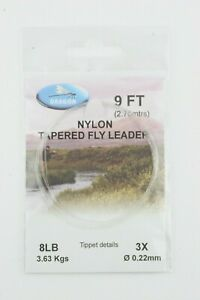 Quality Nylon Tapered Leaders - 3,4,5,6,8lb, (9ft) - For Trout Fly Fishing