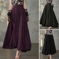 ZANZEA Damen Elastische Taille A-Linie Lang Röcke Elegant Rock Kurz Kleid Tasche