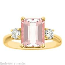MORGANITE & DIAMOND ENGAGEMENT RING EMERALD CUT 10x8mm YELLOW GOLD 3.28 CARATS