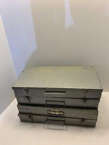 (4) Vintage Metal 35mm Slide Storage Case Box 150 Slots Metal Clasps & Handle